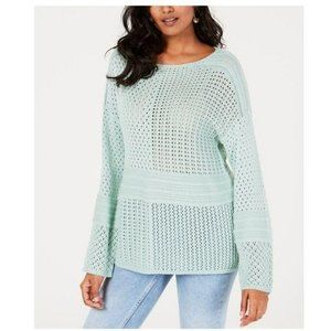 STYLE & CO Patchwork-Stitched Crochet Sweater